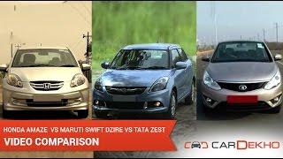 Tata Zest vs Honda Amaze vs Maruti Suzuki Swift Dzire | CarDekho.com