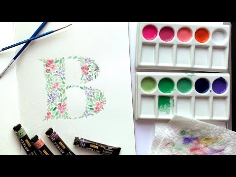How to Paint a Watercolor Floral Initial