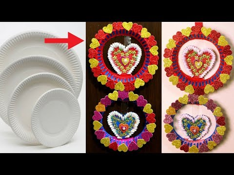 Wall hanging using Disposable Plates - Valentine diy decorations - Best out of waste - Reuse craft