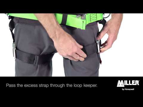How to put on a harness with belt? (Miller H-Design BodyFix or BodyFit)