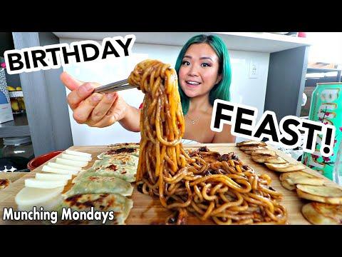JAJANGMYEON (Black Bean Noodles) & DUMPLINGS MUKBANG // Munching Mondays Ep.35