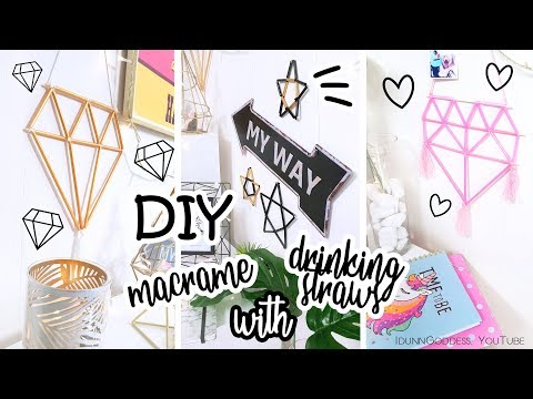 DIY Easy Macrame Wall Decor With Drinking Straws – How To Make Boho Macrame Wall Hanging