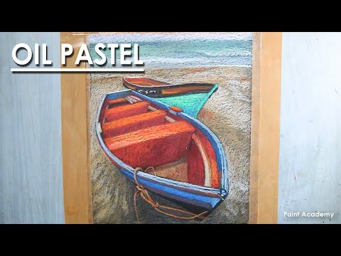 Oil Pastel Drawing : A Composition on Boats