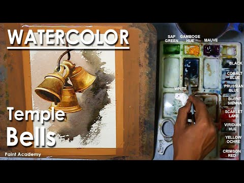 Watercolor Painting : Rusty Temple bells