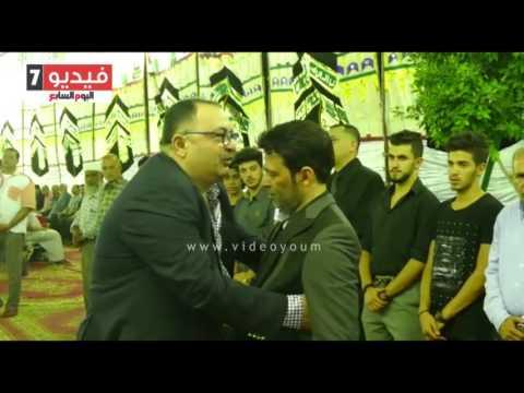 شعبان عبد الرحيم وريكو ومعتز إينو وجمال العاصى فى عزاء والدة سعد الصغير