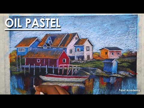Oil Pastel Drawing : A Composition on Beautiful Candian Fishing Village