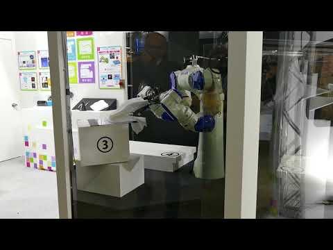 クラボウ 画像センサを使ったTシャツ折りたたみデモ 2017国際ロボット展