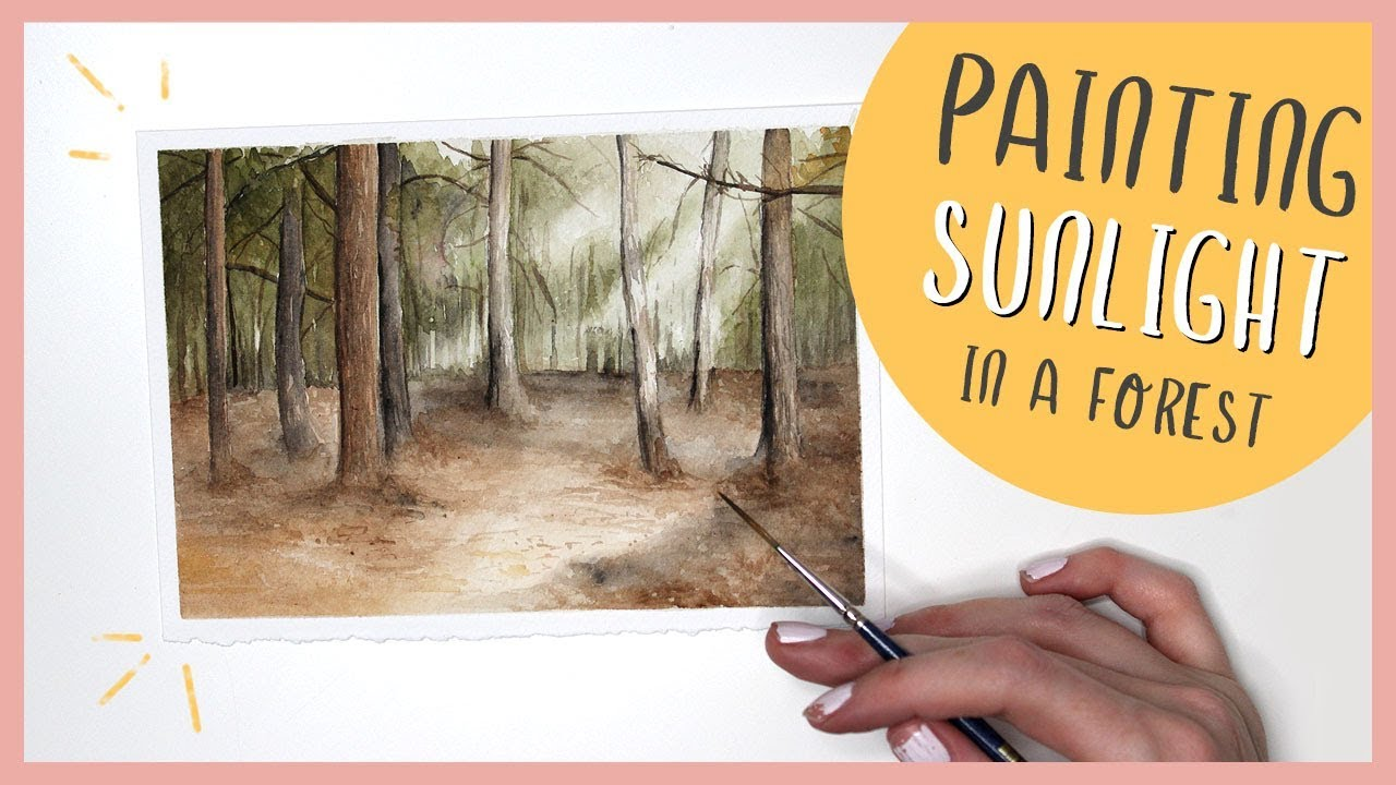 Watercolor Forest Landscape Painting (& How To Paint Sunlight)