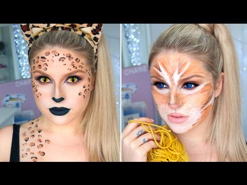 Sexy Leopard & Cute Tabby Cat! ? 2-in-1 Cat Halloween Tutorial!