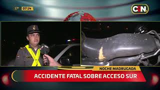 Motociclista falleció luego de caer de su motocicleta sobre Acceso Sur