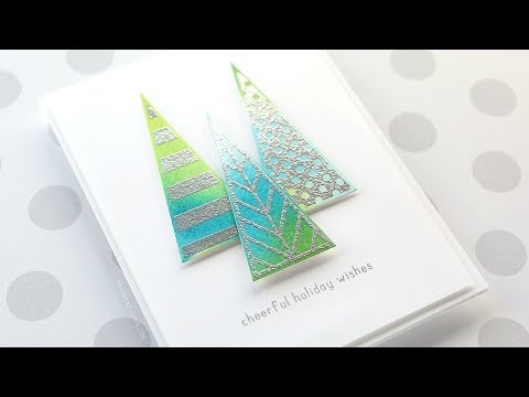 Holiday Card Series 2018 - Day 11 - Watercolored & Metallic Embossed Trees