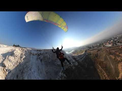 Полёт на параплане над Памуккале. Турция.