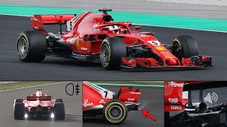 Ferrari SF71H F1 2018 In Action – Strange Test Lights, Rear Smoke, Wastegates Opening  More!