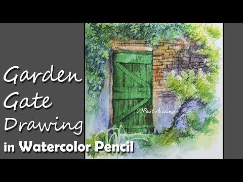Beautiful Garden Gate Drawing in Watercolor Pencil | step by step