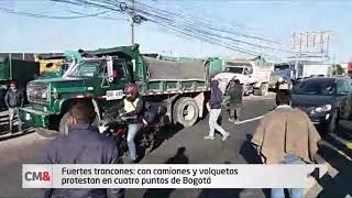 Fuertes trancones: con camiones y volquetas protestan en cuatro puntos de Bogotá