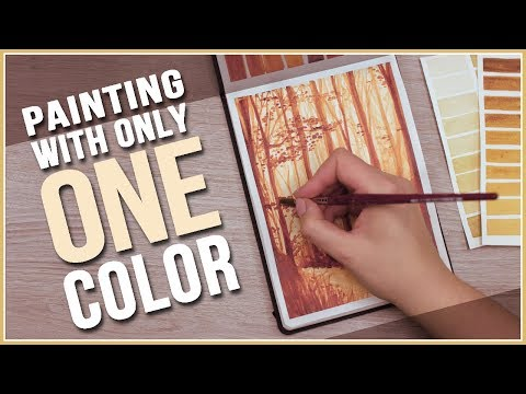How to Paint a Fall Scenery with only ONE Color // Monochromatic Watercolor // Art Journal Thursday