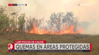 Continúa el incendio en Otuquis y San Matías, ya ardieron más de 60 mil hectáreas de pastizales