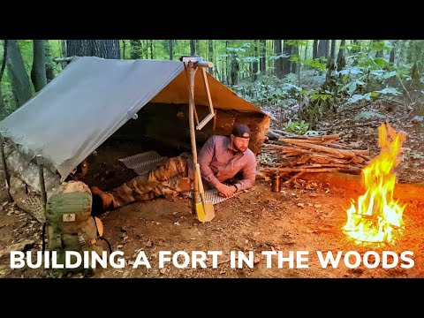 Solo Overnight Building a Fort in The Woods Part 1 and Bacon Wrapped Sausage