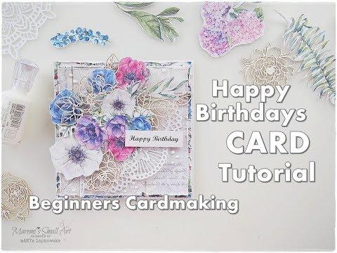 Beginners Cardmaking Happy Birthday Birthday Card Tutorial ♡ Maremi's Small Art ♡