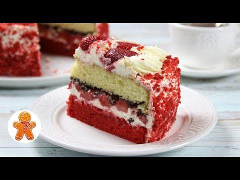 Торт «Красный Бархат» с Клубникой