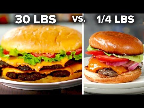 Giant 30 Pound Burger Vs. 1/4 Pound Burger ? Tasty