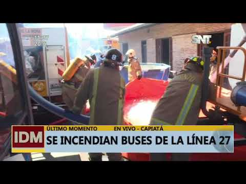 Se incendiaron 9 buses de la línea 27 en Capiatá