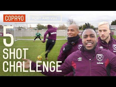 West Ham 5 Shot Challenge ft. Arnautovic, Lanzini, Antonio & Mario!