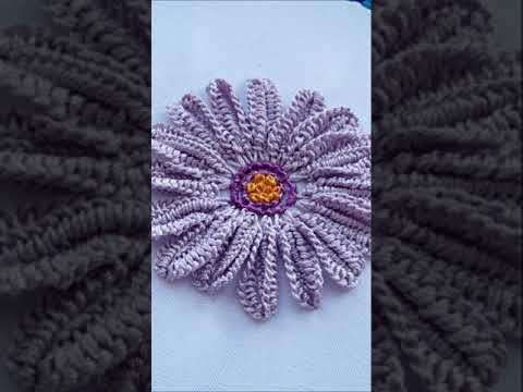 Violet daisy   Floral Embroidery   tutorial   #shorts