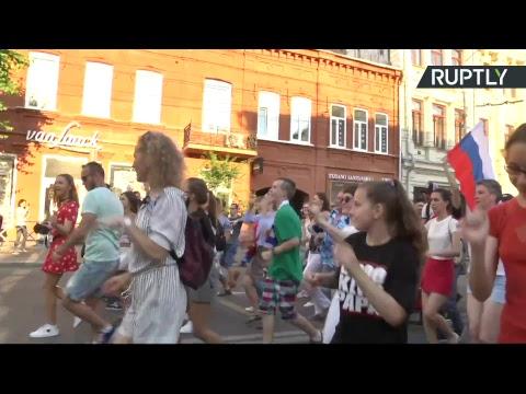 Шествие российских болельщиков в Самаре