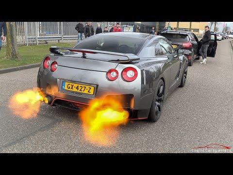 CRAZY Nissan GT-R R35 - INSANE Pops & Bangs, Flames & Launch Controls !