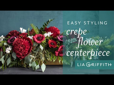 How to Create a Holiday Arrangement with Fresh Greens and Crepe Paper Flowers