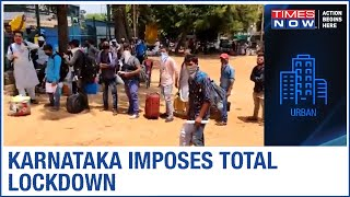 Migrants queue up at police stations after Karnataka imposes total lockdown to curb the COVID spread - TIMESNOWONLINE