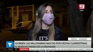 Paraná: ya rigen las millonarias multas por fiestas clandestinas