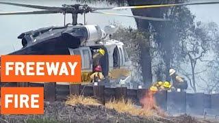 Brush Fire On Side of Los Angeles Freeway   Heat Wave