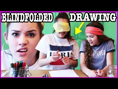 BLINDFOLDED DRAWING CHALLENGE!! CHOCOLATE SLIME SMOOTHIE!!