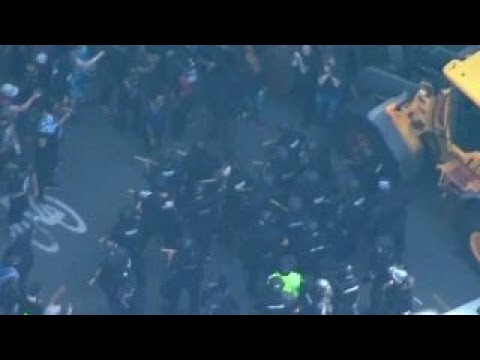 Protesters and police clash in Boston