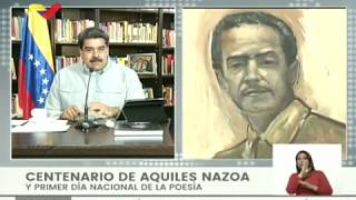 Acto por los 100 años del Natalicio de Aquiles Nazoa, con el Presidente Nicolás Maduro