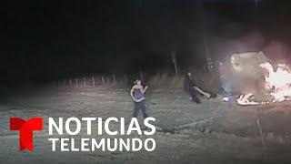 Cómo este policía rescató a una mujer de un auto incendiado | Noticias Telemundo