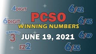 P29M Jackpot Grand Lotto 6/55, EZ2, Suertres, 6Digit, and Lotto 6/42   June 19, 2021