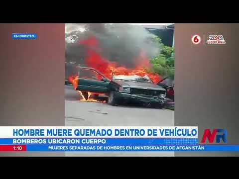 Hombre muere quemado dentro de vehículo