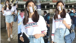 Actress Pooja Hegde Spotted @ Hyd Airport   Celebrities Airport Videos   TFPC - TFPC