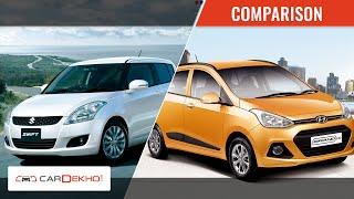 Hyundai Grand i10 vs Maruti Swift | Video Comparison | CarDekho.com