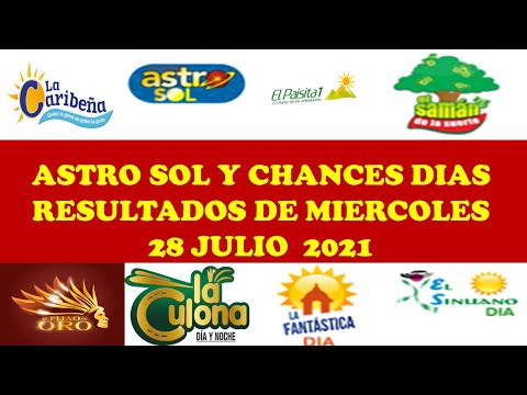 Resultados del CHANCES DIAS de miercoles 28 julio 2021,resultados del ASTRO SOL de miercoles 17 jul