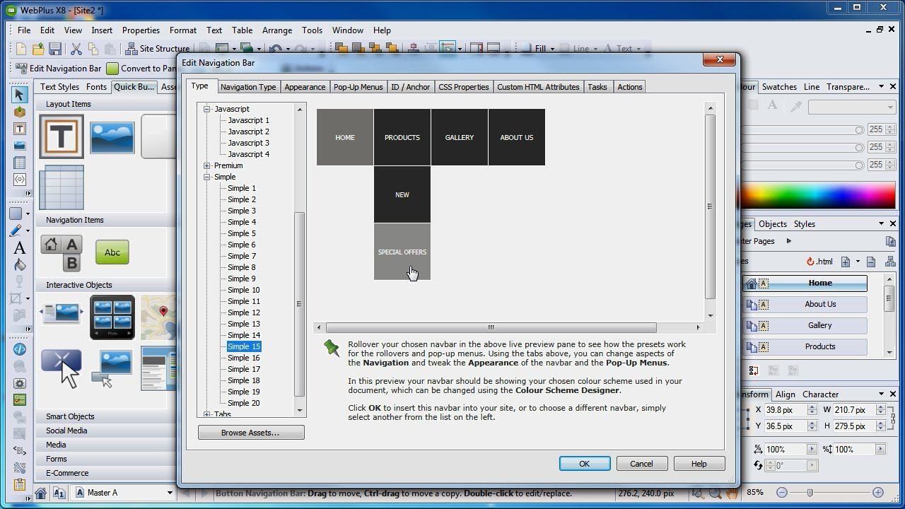 Serif WebPlus X8 Tutorial - Navigation Bar Showcase