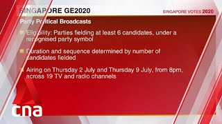 Singapore GE2020: Airtime for party and constituency political broadcasts allocated