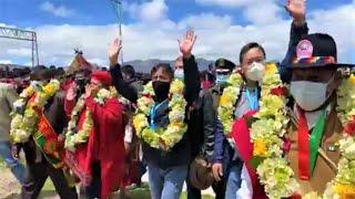 Así Luis Arce Y David Choquehuanca llegan a Omasuyos por el Aniversario 195