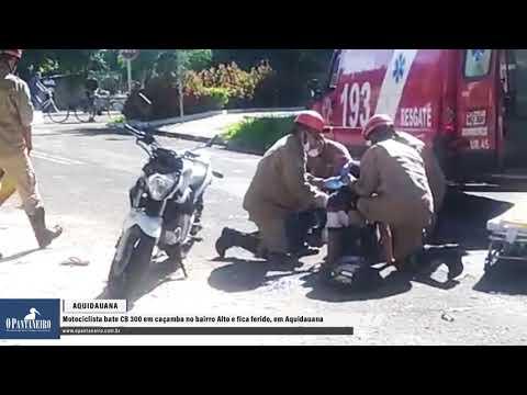 Motociclista bate CB 300 em caçamba no bairro Alto e fica ferido, em Aquidauana