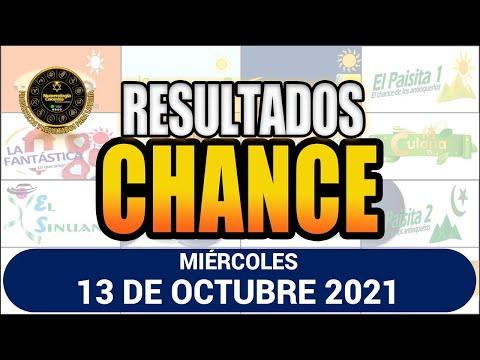 Resultados del CHANCE DE LA MAÑANA del miércoles 13 de octubre de 2021