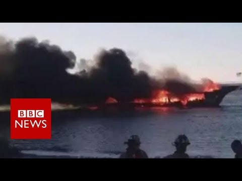 connectYoutube - Florida casino boat bursts into flames - BBC News