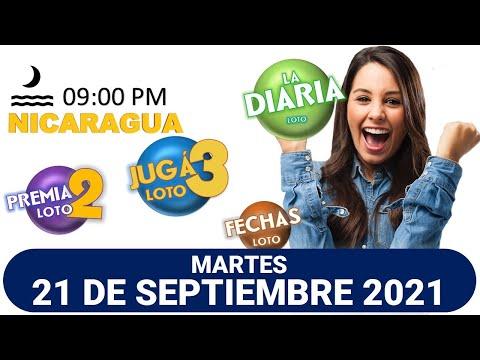 Sorteo 09 pm Loto NICARAGUA, La Diaria, jugá 3, Súper Combo, Fechas, MARTES 21 de septiembre 2021